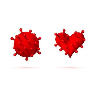 Deux virus réalistes, coronavirus et virus du cœur rouge.