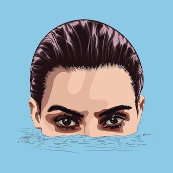 Deux yeux merveilleux d'une belle fille furtivement hors de l'illustration vectorielle de l'eau en couleur