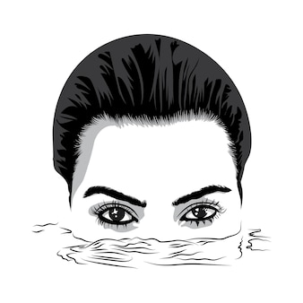 Deux yeux merveilleux d'une belle fille furtivement hors de l'illustration vectorielle de l'eau en noir et blanc