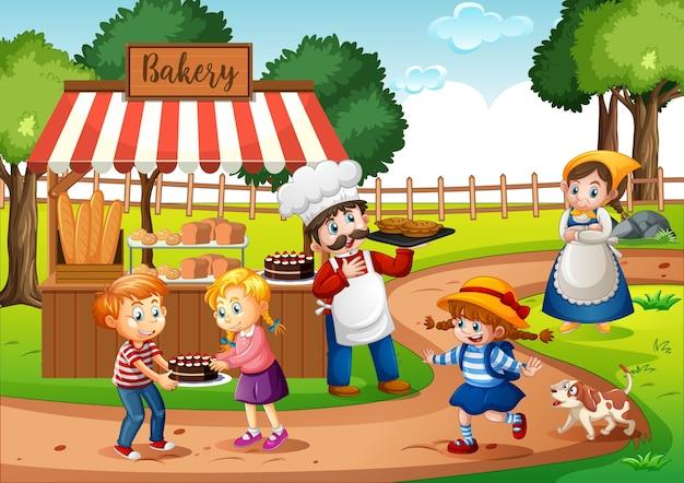 Devant la boulangerie avec boulanger dans la scène du parc