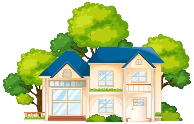Devant une maison avec beaucoup d'arbre isolé sur fond blanc