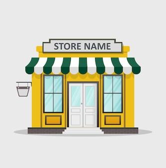 Devanture de magasin design plat avec place pour nom