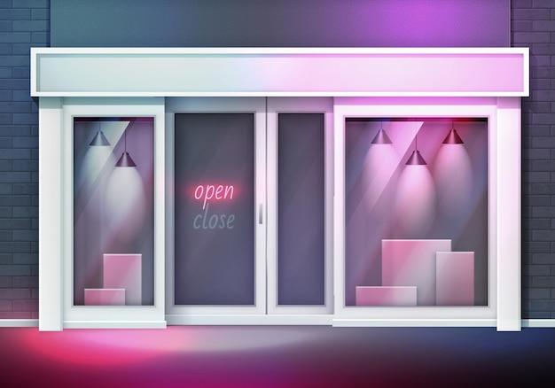 Devanture de magasin vide avec de grandes fenêtres avec lampes et boîtes