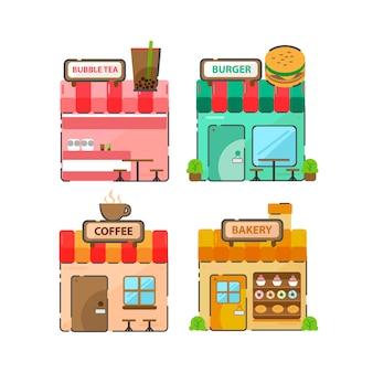 Devantures de magasins. ensemble de 4 boutiques et lieux