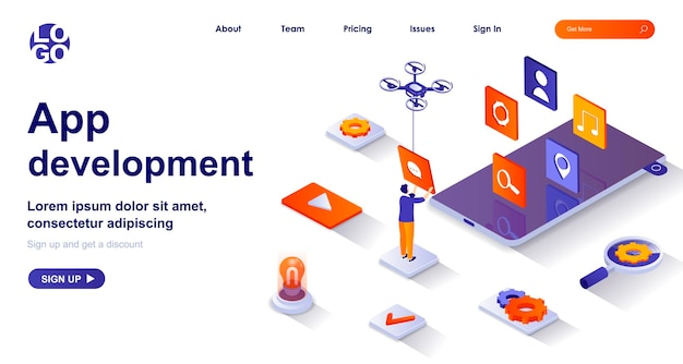 Développement d'applications 3d page de destination isométrique avec des personnages de personnes