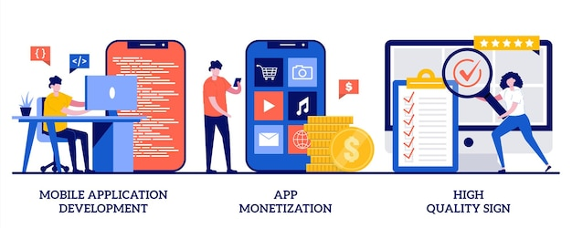 Développement d'applications mobiles, monétisation d'applications, illustration de signe de haute qualité avec des personnes minuscules
