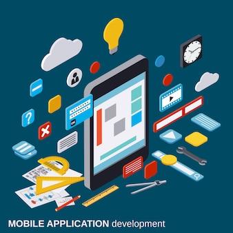 Développement d'applications mobiles, processus de référencement, optimisation d'algorithmes, illustration de concept de vecteur isométrique 3d de construction de site web