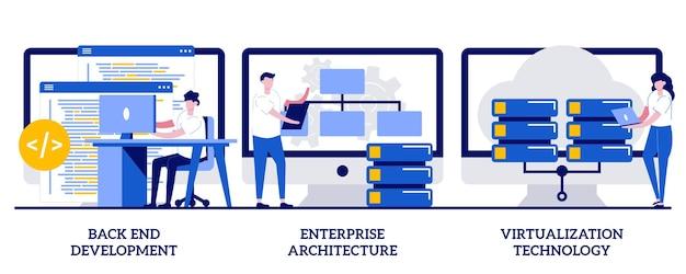Développement back-end, architecture d'entreprise, concept de technologie de virtualisation avec des personnes minuscules. ensemble d'illustrations vectorielles de logiciels d'entreprise. programmation, métaphore de la planification des opérations commerciales.