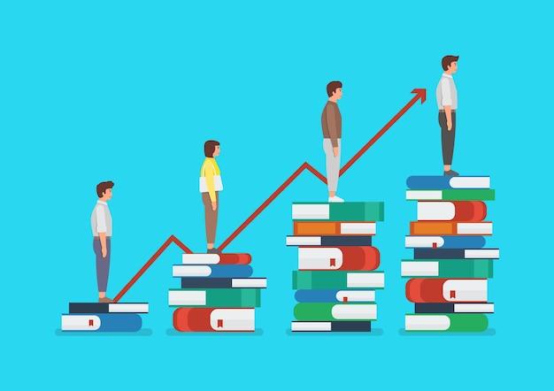 Développement de l'éducation des personnes debout sur beaucoup de livres. illustration du concept de connaissances