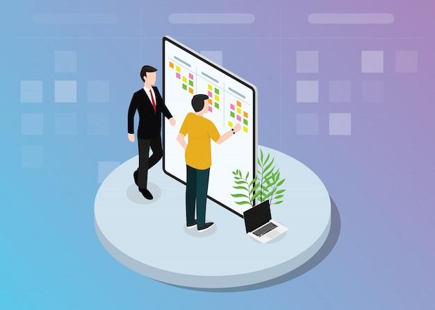 Développement d'équipe scrum agile avec des notes autocollantes sur l'illustration vectorielle conseil