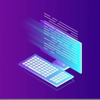 Développement de logiciels, langage de programmation, codage. ordinateur isométrique avec application numérique