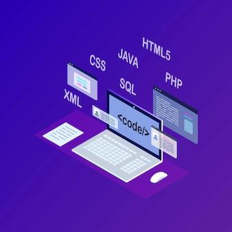 Développement de logiciels, langage de programmation, codage.
