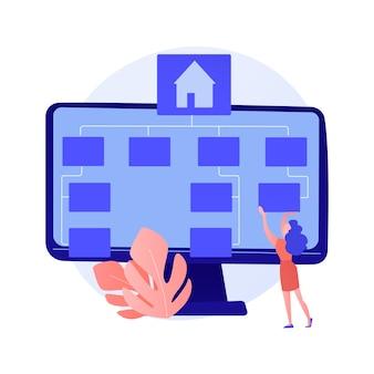 Développement de logiciels, programmation, interface d'application. modernisation de l'application informatique, optimisation du pc, paramétrage du programme. personnage de dessin animé de programmeur.