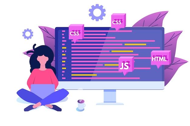 Développement de logiciels, programmeur au travail. traitement de big data.