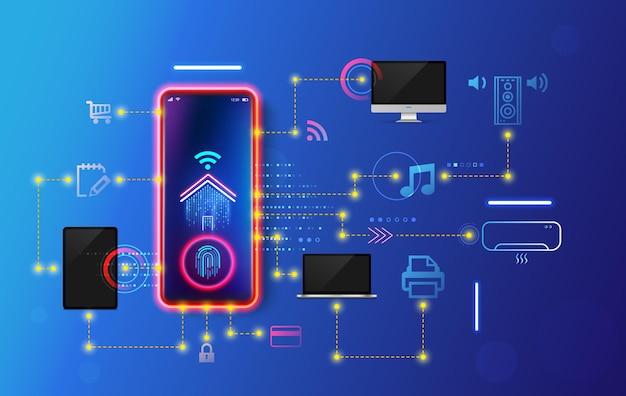 Développement maison intelligente et système iot. scénarios de travail d'installation et de configuration internet des objets dans la maison domestique.