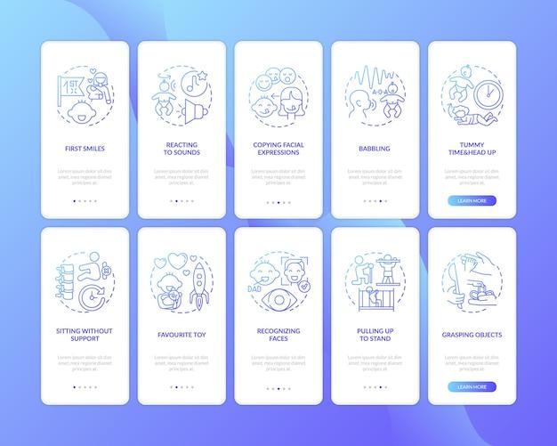 Développement de la petite enfance écran de la page de l'application mobile d'intégration bleu foncé avec des concepts