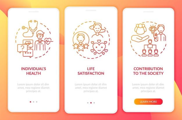 Le développement positif des adultes a un effet rouge sur l'écran de la page de l'application mobile d'intégration avec le concept