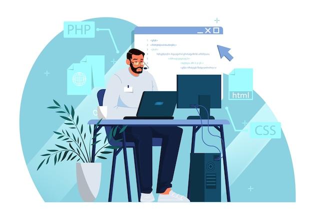 Développement de site web. programmation et codage de pages web
