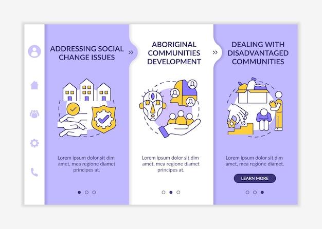 Le développement de l'unité sociale cible le modèle vectoriel d'intégration. site web mobile réactif avec des icônes. présentation de la page web en 3 étapes. aborder le concept de couleur des problèmes sociaux avec des illustrations linéaires