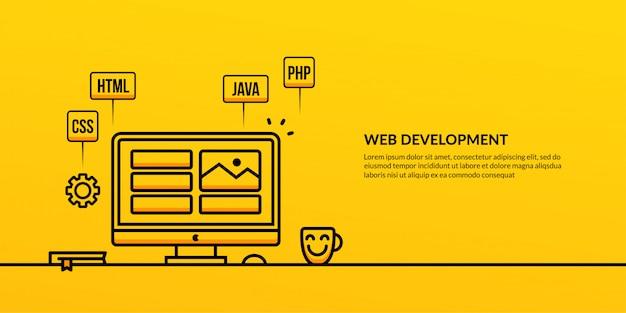 Développement web avec bannière d'élément de contour