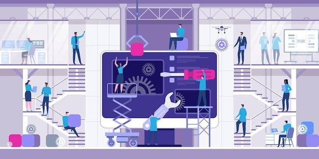 Développement web et codage illustration plate
