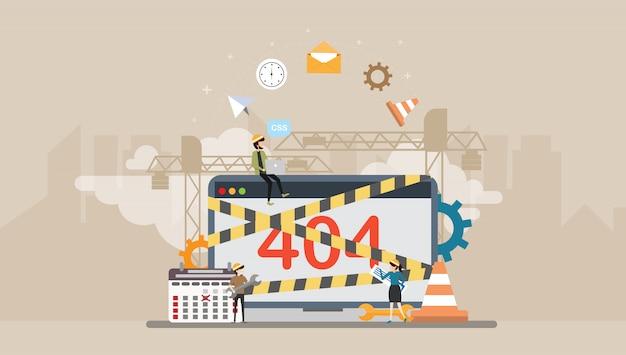 Développement web en construction page caractère tiny people