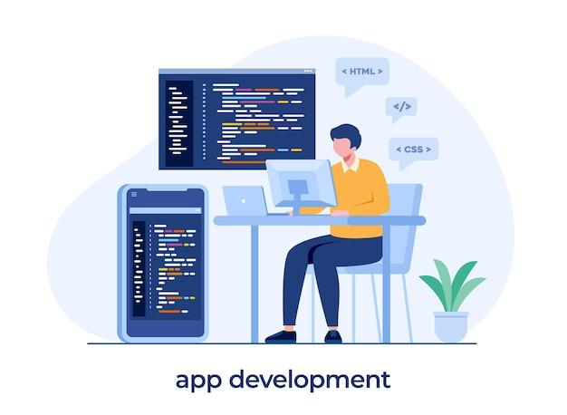Développement web. langages de programmation. css, html, il, ui. programmeur, personnage de dessin animé, développement de site web, codage. bannière d'illustration plate