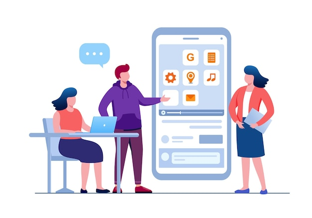 Développeur mobile et programmeur illustration vectorielle à plat pour la bannière et la page de destination