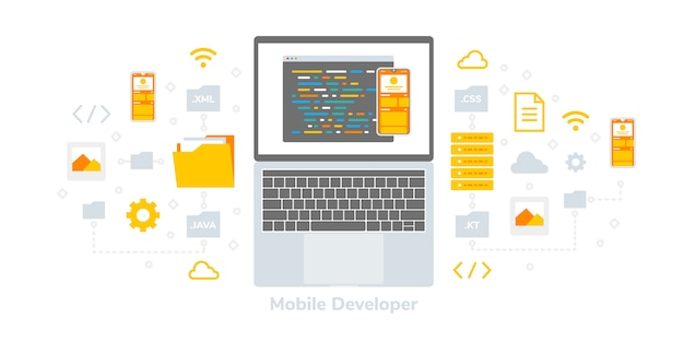 Développeur plat illustration plate, adapté aux bannières web, infographies, livres, médias sociaux et autres éléments graphiques