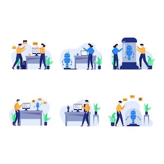 Le développeur réinitialise, conçoit, discute et rend l'illustration des applications android