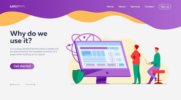 Les développeurs testent le modèle de page de destination du logiciel