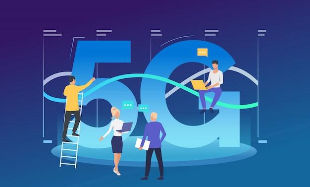 Développeurs travaillant sur le réseau 5g