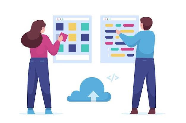 Développeurs web illustration dessinés à la main
