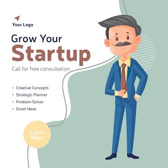 Développez votre conception de bannière de démarrage avec l'homme d'affaires