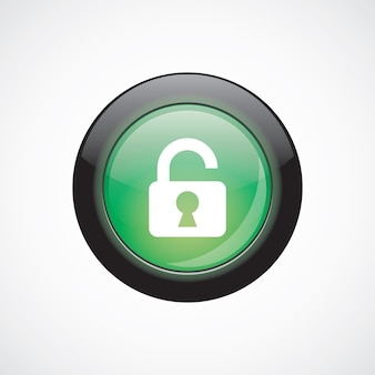 Déverrouiller l'icône de signe de verre bouton brillant vert. bouton du site web de l'interface utilisateur