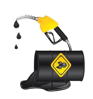 Déversement de pétrole avec baril de pétrole isolé