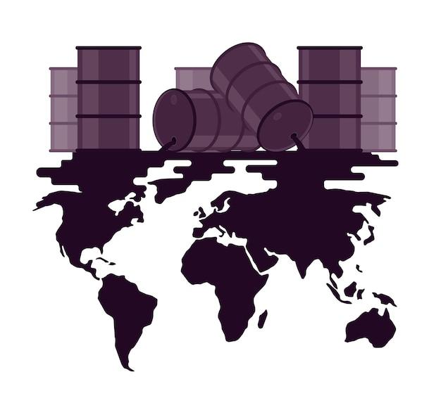 Déversement de pétrole de barils sur la carte du monde