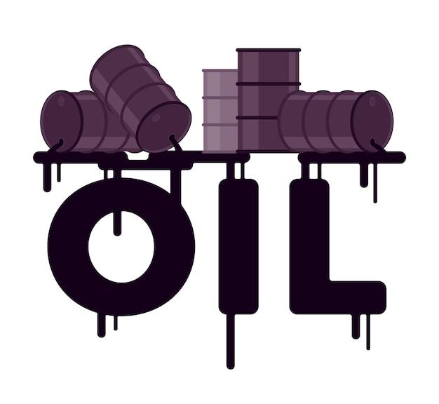 Déversement de pétrole des barils dans un mot