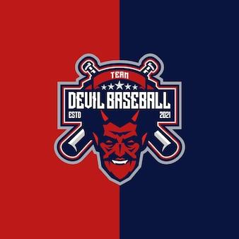 Devil baseball esport et emblème du logo du sport