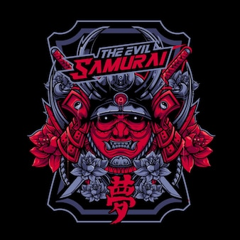 Devil samurai avec illustration vectorielle de visage en colère
