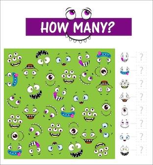 Devinette de jeu pour enfants avec des grimaces de dessin animé, combien de muselières de monstres à bord.