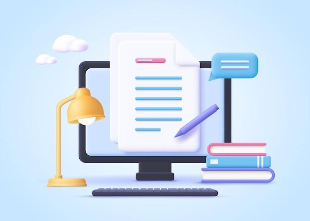 Devoirs, devoirs, concept, de, e-learning, éducation en ligne, 3d, réaliste, vecteur, illustration