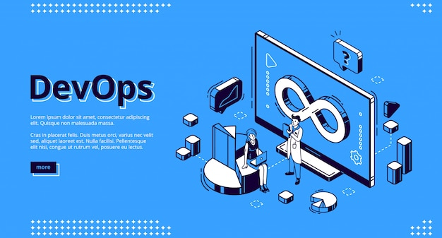 Devops illustration isométrique pour la conception, le développement et l'exploitation de sites web