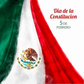 Día de la constitución avec drapeau aquarelle