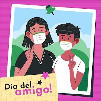 Dia Del Amigo - 20 De Julio Illustration Vecteur gratuit