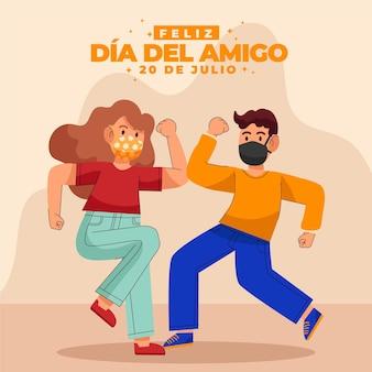 Dia Del Amigo Dessiné à La Main - Illustration 20 De Julio Vecteur gratuit