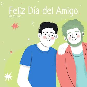 Dia del amigo dessiné à la main - illustration 20 de julio