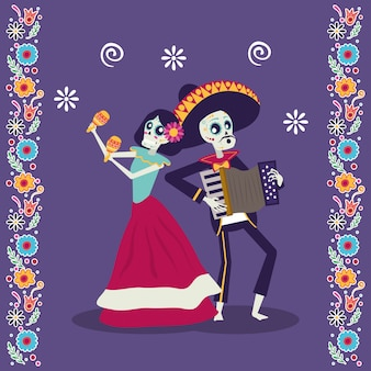 Dia de los muertos carte avec mariachi jouant accordéon et catrina