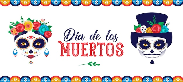 Dia de los muertos jour des morts bannière et carte d'affiche du festival des vacances mexicaines avec maquillage de