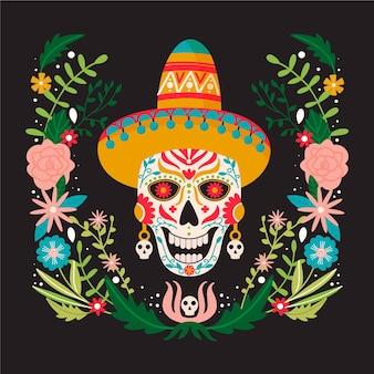 Dia de los muertos ou jour des morts composition festival mexicain traditionnel
